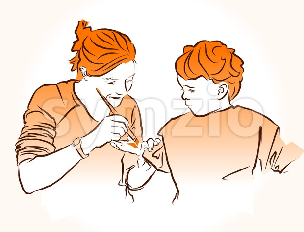 Mother paint child's hand for kid crafts. Stock Vector