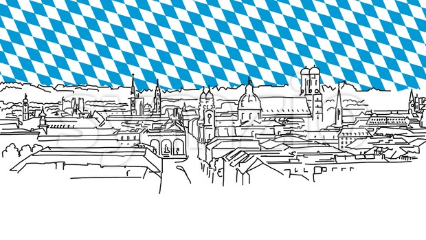 On the roofs of Munich, Vector Outline Sketch Stock Vector