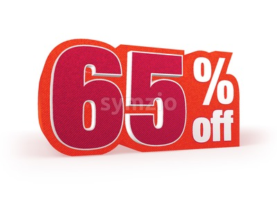65 percent off red wool styled discount price sign Stock Photo