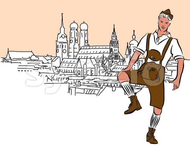Schuhplattler in Munich, Vector Hand Drawn Sketch. Stock Vector