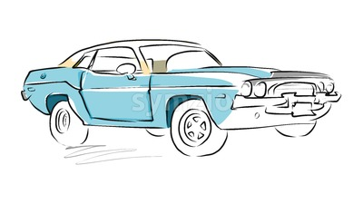 Muscle Car Sketch, Vector Drawing Stock Vector