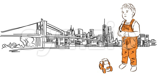 Little boy with tractor in Front of New York Panorama Stock Vector