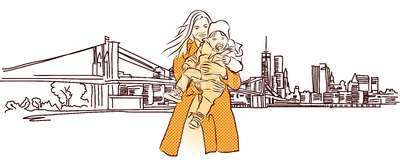 Mother with Child in Front of New York Panorama Stock Vector