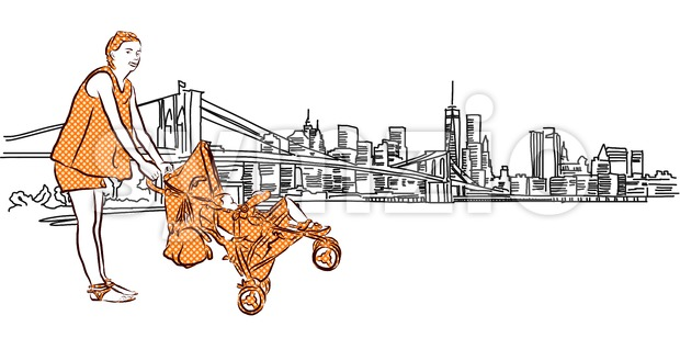 Mother and Buggy in Front of New York Panorama Stock Vector