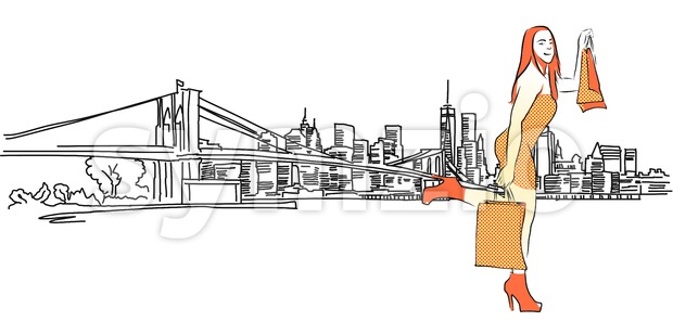 Shopping Queen in Front of New York Panorama, Vector outline Sketch