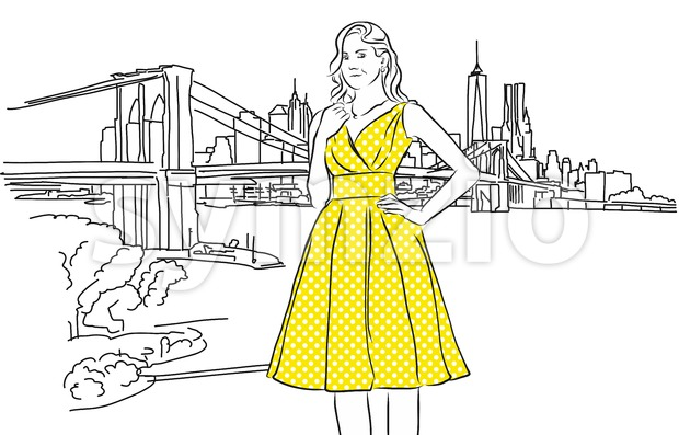 Nice Caucasian Girl with Yellow Dress in Front of New York Skyline. Stock Vector