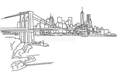 New York Panorama with brooklyn bridge Stock Vector