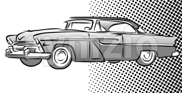 Old American Car Side View Hand Drawn Sketch Vector Illustration