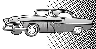 Old American Car Side View, Hand Drawn Sketch Stock Vector