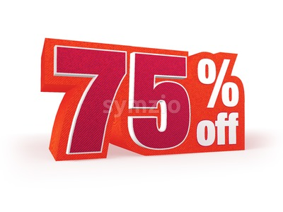 75 percent off red wool styled discount price sign Stock Photo