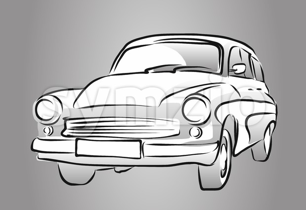 Old East German Car, Grey Shaded Sketch, Vector Hand Drawn Artwork