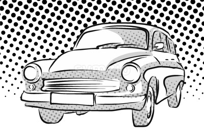 Old East German Car, Dotted Background Stock Vector