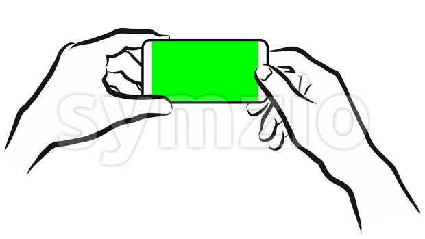 Holding Mobile in Landscape Mode. Stock Vector