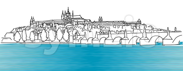 Prague Hradschin Vector Outline Sketch Stock Vector