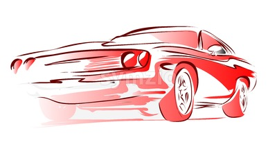 Old Muscle Car, Vector Outline Colored Sketch Stock Vector