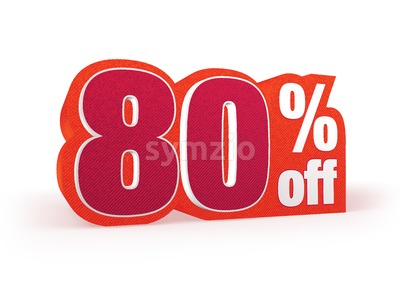 80 percent off red wool styled discount price sign Stock Photo