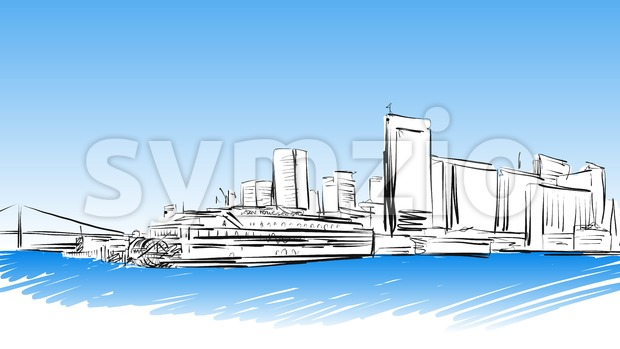 San Francisco Downtown colored Sketch Stock Vector