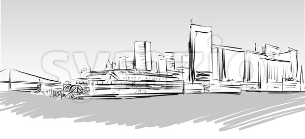 San Francisco Downtown greyscale Sketch, Hand-drawn Vector Artwork