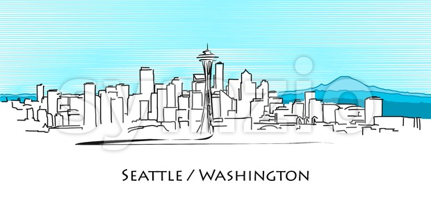 Seattle Panorama, Hand Drawn Outline Artwork Stock Vector