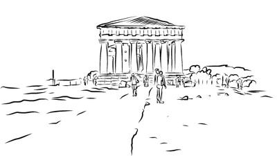Temple of Concordia. Valley of Temples, Agrigento, Sicily. Stock Vector