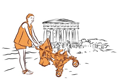 Temple with Mother and Baby in Buggy, Agrigento, Sicily. Stock Vector