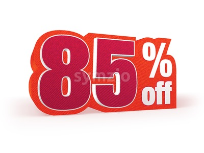 85 percent off red wool styled discount price sign Stock Photo