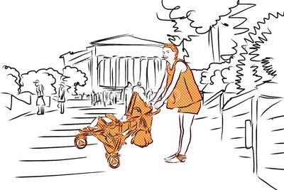 Mother with Buggy in Orange and Temple. Agrigento, Sicily. Stock Vector