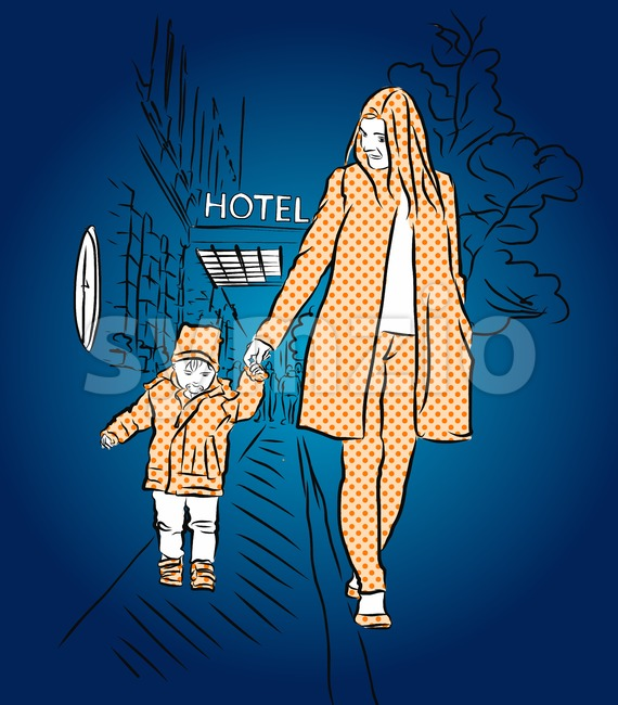 Mother and Son walking at Night Stock Vector