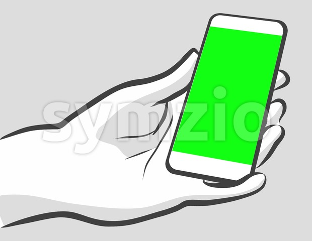 Holding Mobile in Portrit Mode. Stock Vector