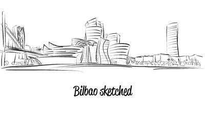 Bilbao Skyline, Hand drawn Vector Artwork Stock Vector