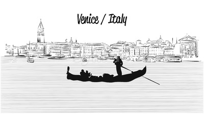 Venice skyline with Gondola, Hand drawn Vector Sketch Stock Vector