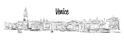 Venice Skyline, Italy, Hand drawn Vector Sketch Stock Vector