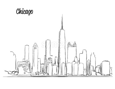 Chicago Skyline, Hand drawn Silhouette Stock Vector