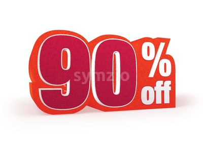 90 percent off red wool styled discount price sign Stock Photo