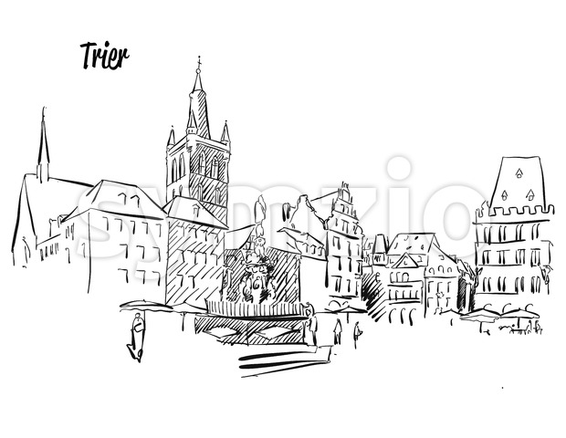 Trier Market Square Outline Sketch Stock Vector