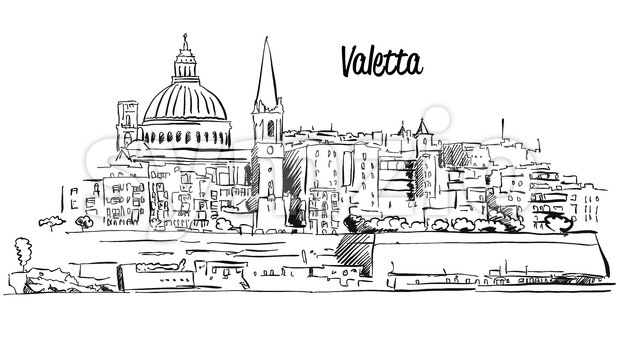 Valetta, Malta. Panorama Waterfront Outline Vector Sketch Stock Vector
