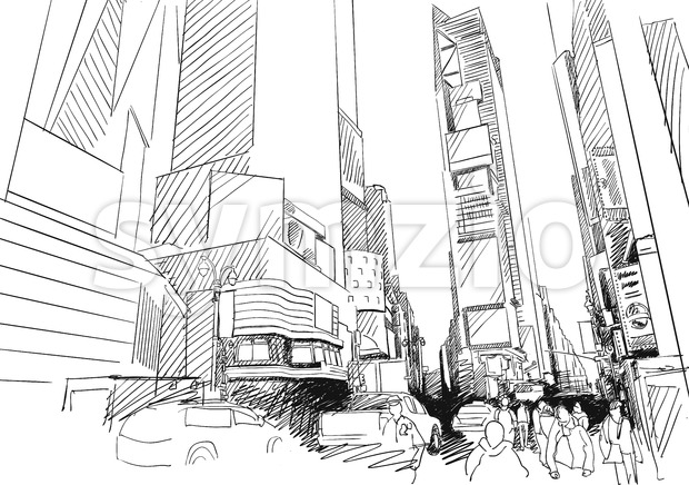 Time Square, New York City. Hand-drawn Vector Outline Sketch Stock Vector