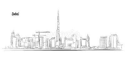 Dubai, United Arab Emirates. Panorama Vector Outline Sketch Stock Vector