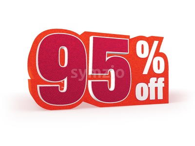 95 percent off red wool styled discount price sign Stock Photo