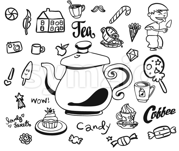 Afternoon Tea and Breakfast Doodles Stock Vector