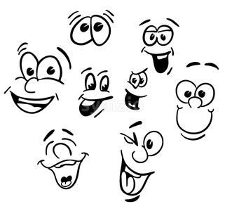 Hand drawn Emotional happy Cartoon Faces Stock Vector