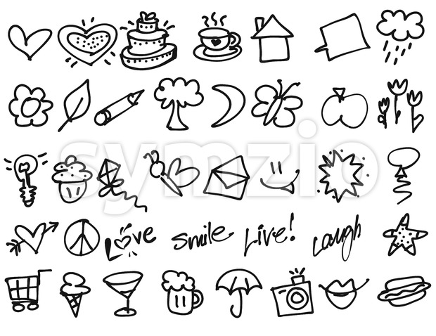 Hand drawn Tiny birthday Party doodles Stock Vector