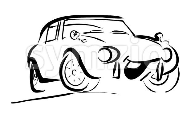 Simple sportive smiling Comic Car Stock Vector