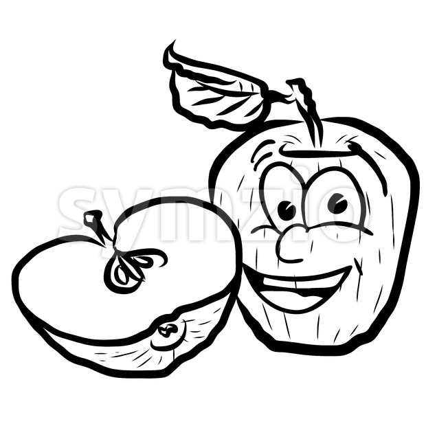 Laughing Apple Vector Illustration Fruits, Hand drawn Outline Sketch. Useful for any kind of advertising in web and print.