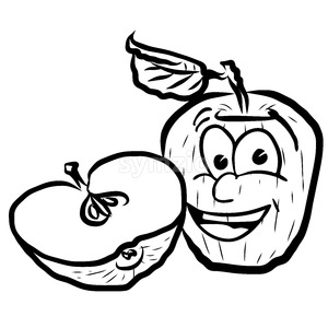 Laughing Apple Vector Illustration Fruits Stock Vector
