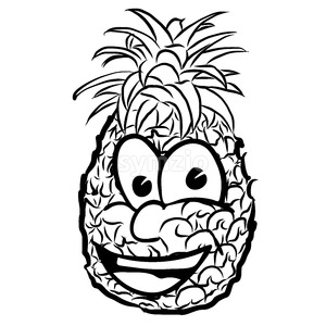 Laughing Pineapple Vector Illustration Fruit Stock Vector