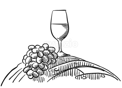 Glass of Vine with grapes on barrel Stock Vector
