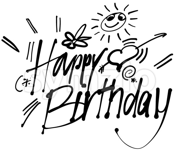 Happy Birthday hand lettering greeting card Stock Vector