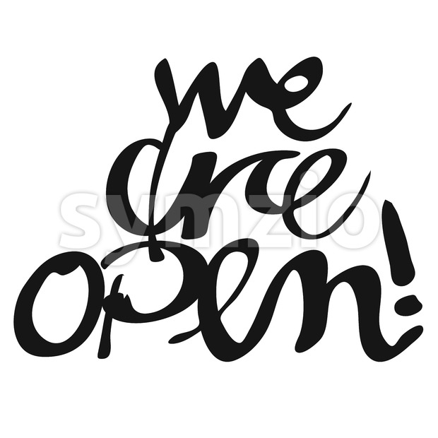 We are open, Hand lettered Typography Stock Vector
