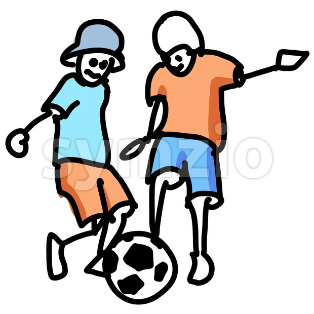 Colored Doodle Kids playing Soccer Stock Vector
